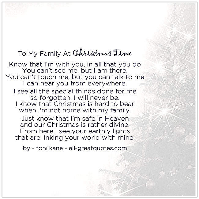 To My Family At Christmas Time Christmas In Heaven Poems