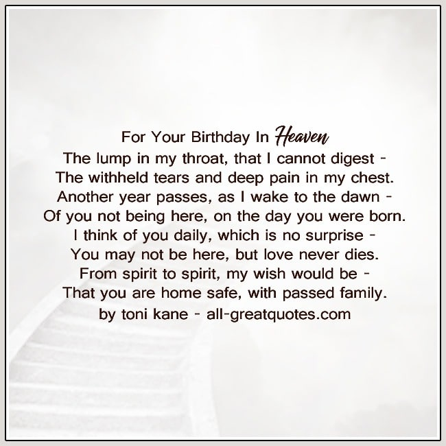 For Your Birthday In Heaven Cards
