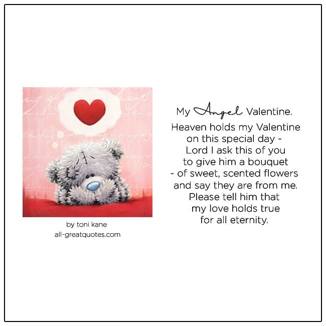 My Angel Valentine In Heaven Valentines Day In Heaven For Him
