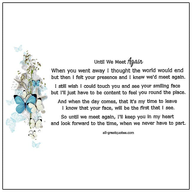 Until We Meet Again Grief Poems For Grief