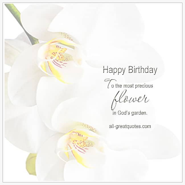 Happy Birthday To The Most Precious Flower In God's Garden In Heaven Birthday Cards