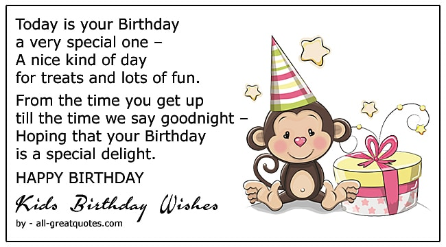 free happy birthday wishes for kids