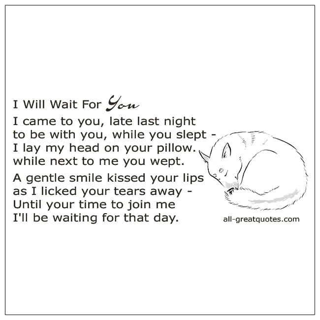 I Will Wait For You Poem Death Of A Dog Poem