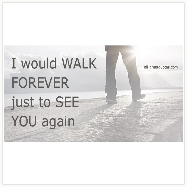 I Would Walk Forever Just To See You Again Grief Loss Quotes
