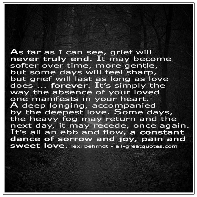 As Far As I Can See Grief Will Never Truly End Lexi Behrndt Quote