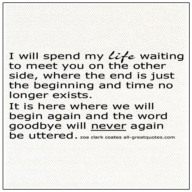 I Will Spend My Life Waiting To Meet You On The Other Side Quote