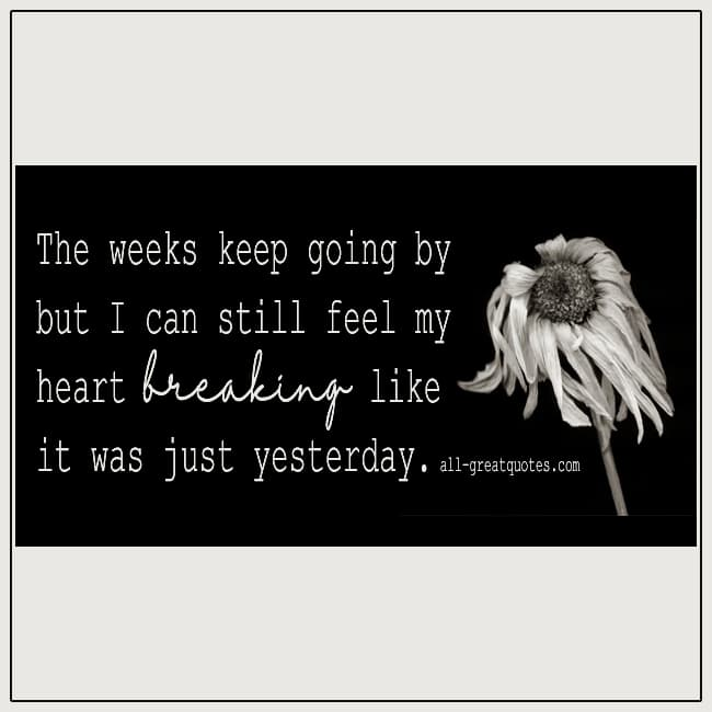The Weeks Keep Going By But I Can Still Feel Grief Quote Card
