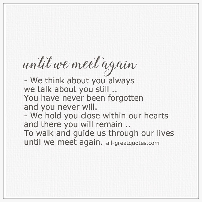 Until We Meet Again Grief Poem Card