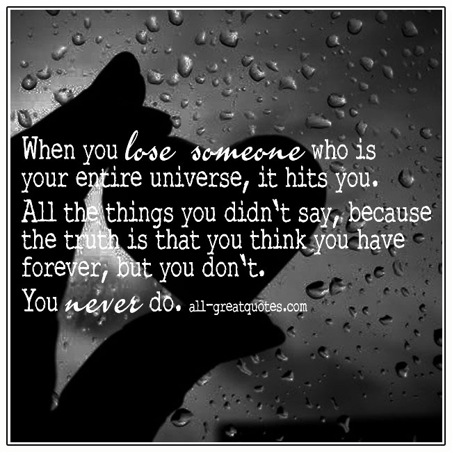 When You Lose Someone You Love Grief Picture Quote