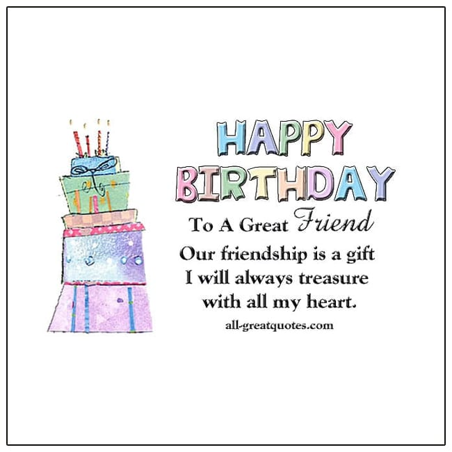 Birthday Card Happy Birthday To A Great Friend