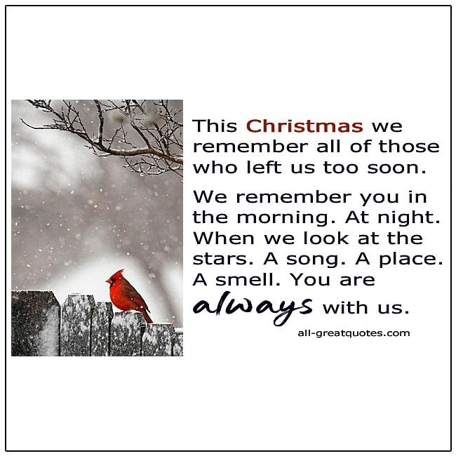 Christmas In Heaven Left Us Too Soon Card