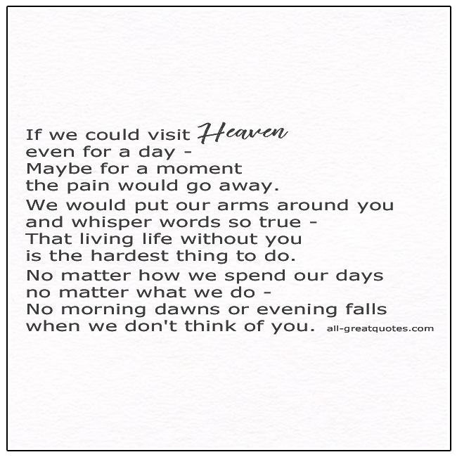 If we could visit heaven poem